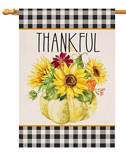 Bandera de jardín de otoño de calabaza agradecida de Acción de Gracias vertical de doble cara, granja otoñal, girasol, arpillera, patio, decoración al aire libre, 12.5 x 18 pulgadas (138705)