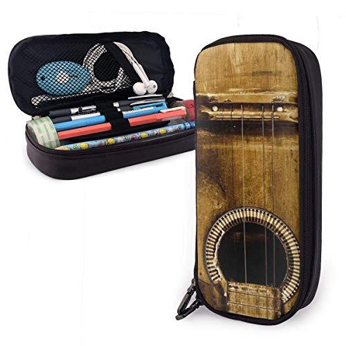 Estuche de madera para lápices de guitarra con gran capacidad para lápices, organizador de papelería, bolsa de lápices, con gran almacenamiento para niños, niñas, escuela y oficina