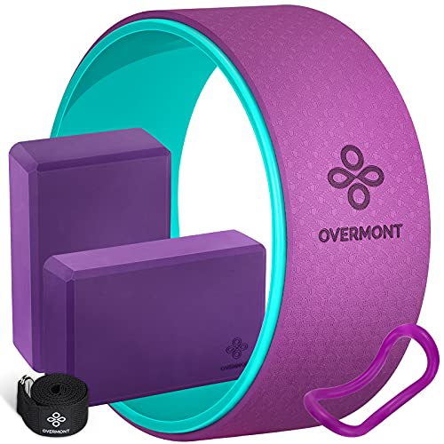 Overmont 5-in-1 Set, 1 Yoga Wheel for Back Pain- 13x 5in, 2 EVA Foam Yoga Blocks with Strap, 1 Extend Ring Premium Back Roller for Yoga Poses Backbend Stretching Pilates Meditation
