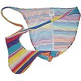 OROCOJUCO Men Brazilian Pucker Bikini Briefs Underwear Posing Cheeky Trunks String Bikini Briefs Swimwear Rainbow Stripe M