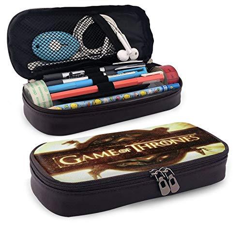 Game_of_Thrones - Estuche de piel para lápices con doble cremallera, para adultos, niñas, niños, escuela, oficina