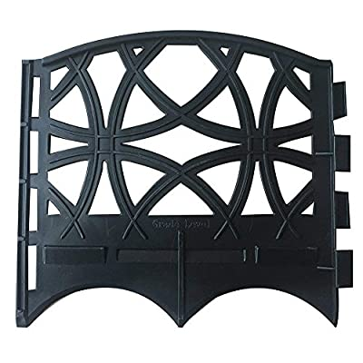 """Abba Patio Garden Fence Recycled Plastic Landscape Edging 12 Sections 6.4"""" L x 5.7"""" W Flexible No-Dig Vintage Iron Style Decorative Border, Black"""