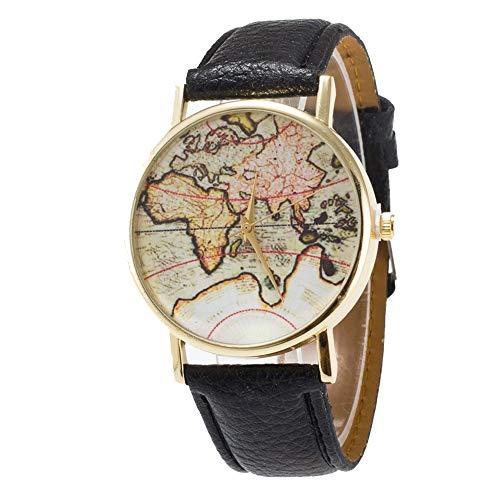 professionnel comparateur Goodplan 1PCS Retro World Map Watch Montre unique et élégante avec bracelet en cuir de première qualité… choix