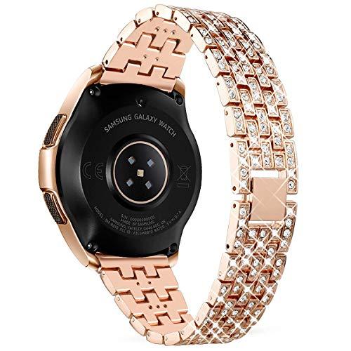 WATORY Ersatz für Samsung Galaxy Watch Active 40mm/ Active 2 40mm 44mm / Galaxy Watch 42 mm Armband, Edelstahl Kristall Rhinestone Diamant Uhrenarmband. Roségold