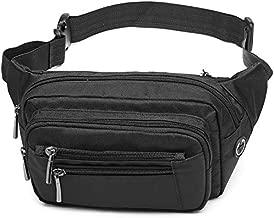 Packism Fanny Pack, 6 Zipper Pockets Fanny Pack for Men Women, Sport Waist Pack Bag Travel Hiking Running Hip Bum Bag for Outdoors, Black
