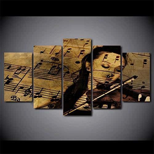 104Tdfc Cuadro en Lienzo 200x100cm 5 Piezas Cuadro sobre Lienzo Partituras de violín Tejido no Tejido Impresión en Lienzo Decoracion Pared Regalo Creativo