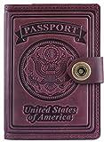 Villini - Leather US Passport Holder Cover RFID Blocking ID Card Wallet - Travel Case (Claret)