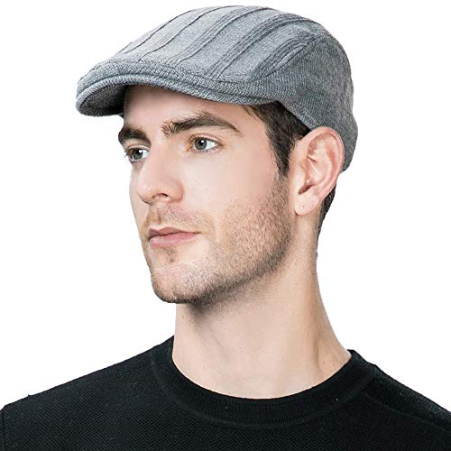 Jeff & Aimy Wool Blend Knitted Newsboy Cap for Men Winter Fitted Hunting Ivy Flat Cap British Drivers Duck Bill Hat Grey 57-59cm