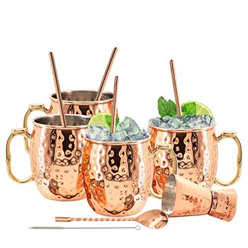 Kitchen Science Juego de tazas de cobre con forro de acero inoxidable Moscú Mule de 18 onzas con 4 pajitas y jigger