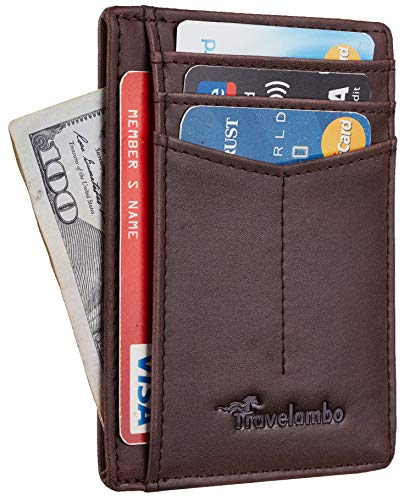 Travelambo RFID Front Pocket Minimalist Slim Wallet Genuine Leather Small Size (CH Crazy Horse Coffee)