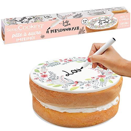 SCRAP COOKING - Rouleau Pâte à Sucre (Flower) pour Gâteau - Imprimé Floral à Personnaliser avec 1 Feutre - Accessoire Pâtisserie Fleurs Pratique 110g - 7299
