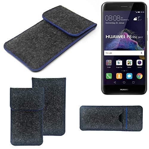 K-S-Trade Filz Schutz Hülle Für Huawei P8 Lite 2017 Dual SIM Schutzhülle Filztasche Pouch Tasche Hülle Sleeve Handyhülle Filzhülle Dunkelgrau, Blauer Rand