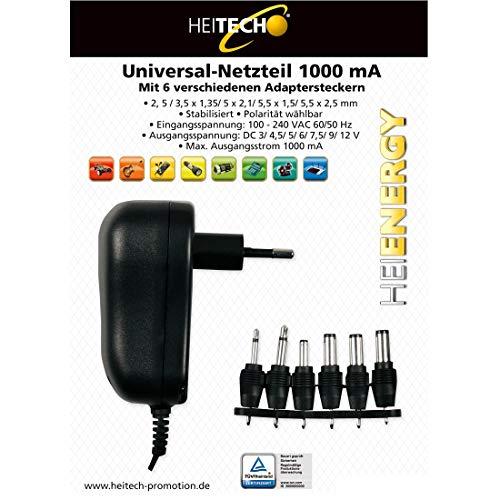 HEITECH Universal Netzteil TÜV geprüft 1000mA 3-12V regelbar inkl. 6 Adapter Stecker - Netzstecker bis max. 1000mA - Netzadapter zur Stromversorgung vieler Elektrokleingeräte