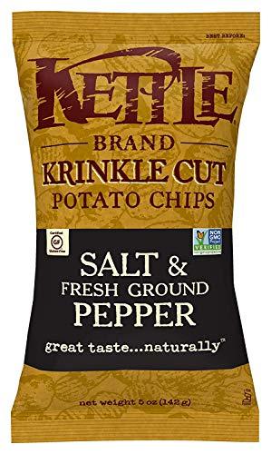 Kettle Brand Potato Chips, Krinkle Cut Salt & Fresh Ground Pepper Kettle Chips, 5 Oz