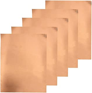 Copper Foil Tape with Single-Side Sheets 11.8inch x 0.21yards(30cm x 20cm) Conductive Adhesive Stained Glass Guitar Soldering Electrical Repairs Grounding EMI Shielding (5 Pcs)