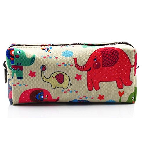 Elephant Pencil Case Students Capacity Canvas Pen Bag Pouch Case Makeup Cosmetic Bag (Elephant)