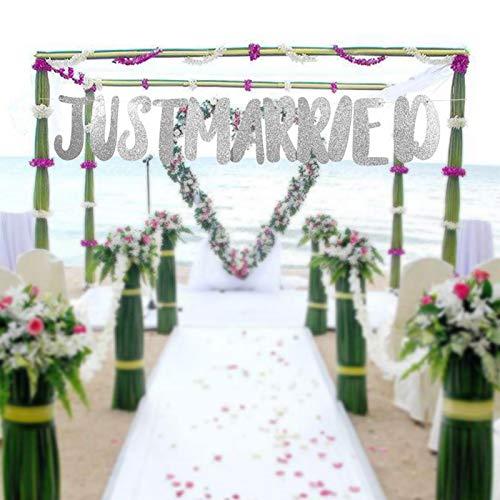 Omabeta Recién Casados Banner Decoración de Despedida de Soltera Decoración de Banner para Fiesta(Just Married-Silver)