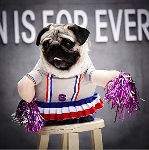 WORDERFUL Halloween-Kostüm für Hunde, Cheerleader-Kleid, Rock, Cheerleader-Kleid, Cheerleading Handblumen, lustiges Dramatisches Polyester für kleine und mittelgroße Hunde, M, weiß