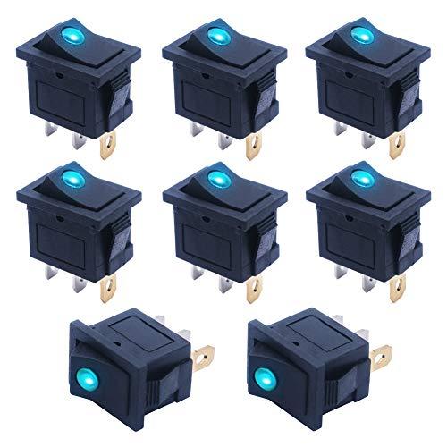 mxuteuk - Interruptor basculante para barco (8 unidades, 12 V, luz roja, azul, verde, amarillo (se puede elegir), Green, 1