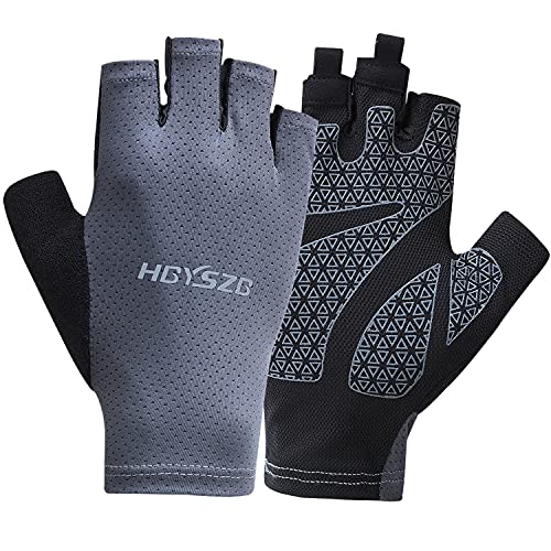 LJCUTE Sun Protection Fingerless Fishing Gloves for Man & Woman, Comfortable & Breathable Cycling Bike Gloves, Anti-Slip & Wear-Resistant Workout Gloves for Hiking, Driving, Hunting, Running