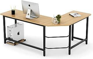 Tribesigns Modern L-Shaped Desk Corner Computer Desk PC Laptop Study Table Workstation Home Office, Wood & Metal (Light Brown)