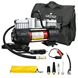 Griine Heavy duty twin cylinder tire inflator with carrying bag, metal 12V air compressor pump 150PSI, with adapter, suitable for car, truck, SUV tire, boat, air mattress, etc