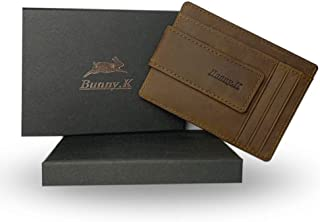 【Bunny.K】 マネークリップ メンズ 財布 薄型 本革 人気 軽量 大容量 小銭入れ カードケース レザー RFID機能 wallet プレゼント対応 全3色 専用BOX 付き