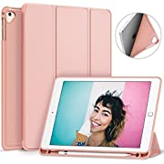 Ztotop Newest iPad 9.7 Inch 2018/2017 Case with Pencil Holder - Lightweight Soft TPU Back Cover with Auto Sleep/Wake, Protective for iPad 6/5th Generation(A1822/A1823/A1893/A1954),Rose Gold
