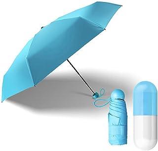 Mini Taschenschirm, Mini Regenschirm Sonnenschutz,Kleiner Regenschirm,winziger Regenschirm im Etui (Blau)