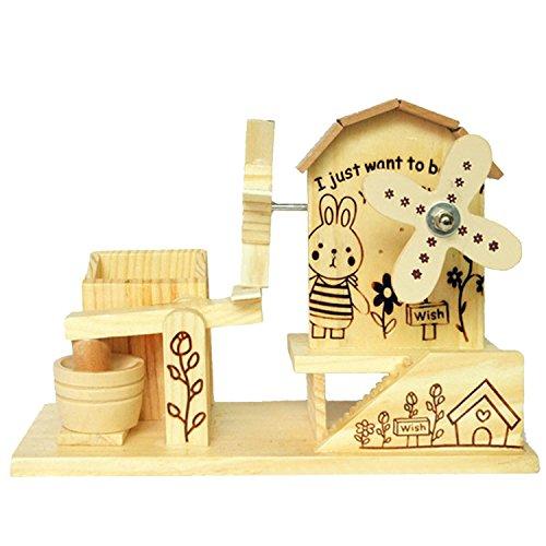 Beetest 2 in 1 Legno Mulino a Vento Stile Meccanica Carillon Musical Box / Musicali Scatola Regalo Portapenne