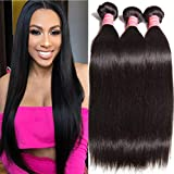 Ali Julia Wholesale 10A Peruvian Straight Virgin Hair Weave 3 Bundles 100% Unprocessed Remy Human Hair Weft Extensions 95-100g/pc (14 16 18', Natural black color)