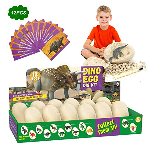 E-More 12 Stück Dinosaurier Egg Toy Ausgraben Dino Ei Spielzeug Party Dinosaur Figuren Ausgrabungsset Archäologie für 6-10 Jahre Jungen Mädchen Kinder Geschenk