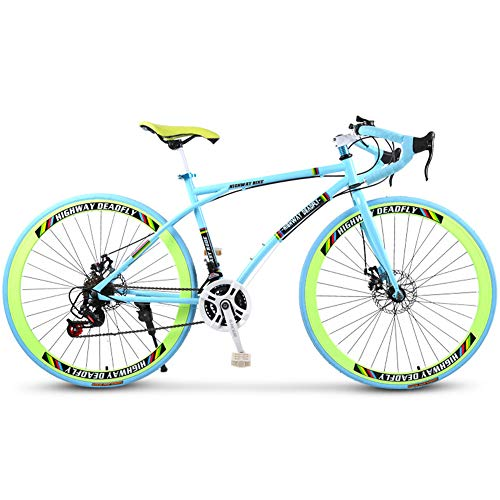 26-Inch Road Bicycle, 24-Speed Bikes, Double Disc Brake, High Carbon Steel Frame, Road Bicycle Racing, Men and Women Adult-Only, Rider Height 165-185 cm (5.4-6 Feet),Blue