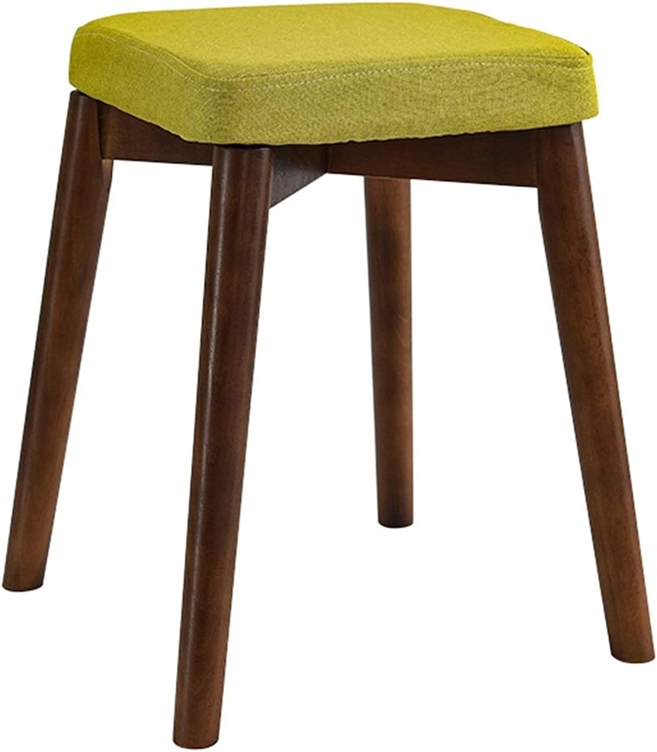 LJFYXZ Dining Chairs Natural Cotton and Linen Removable Design Dressing Stool Kitchen Restaurant X Structure Solid Wood Bracket Home Dining Table Stool (color   Green)
