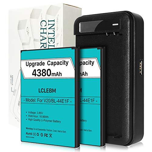 LG V20 Battery x 2, LCLEBM [4380mAh] Replacement Battery for LG BL-44E1F, with LG V20 Battery Charger for LG V20 H910 H918 LS997 US996 VS995   LG V20 Batteries Kit