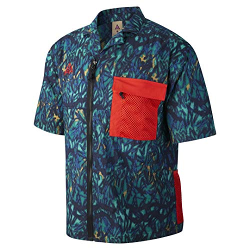 Nike ACG Wilderness CD7636-405 - Camiseta de manga corta con cremallera para hombre, M, Hyper Royal/Total Orange
