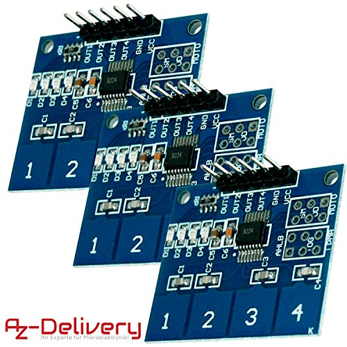 AZDelivery 3 x TTP224 4-Channel Digital Touch Sensor Capacitive Panel for Arduino and Raspberry Pi including eBook