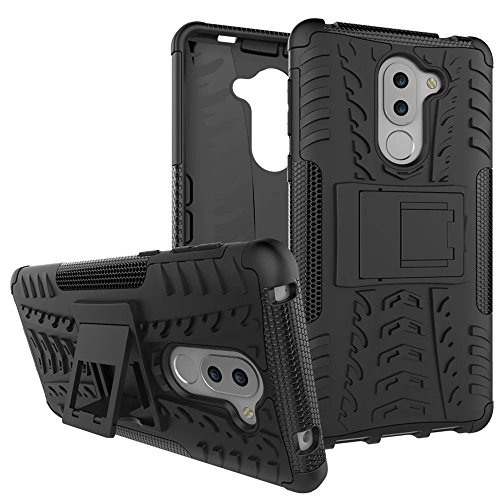 Honor 6X Case, Lantier Hybrid Shockproof Impact Protection Tough Hard Rugged Heavy Duty Combo Dual Layer Protective Case Cover with Kickstand for Huawei Honor 6X 5.5'' Black