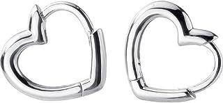Dainty Love Heart Shaped Small Hoop Sleeper Earrings for Women Teen Girls S925 Sterling Silver 14K Daith Heart Cartilage T...