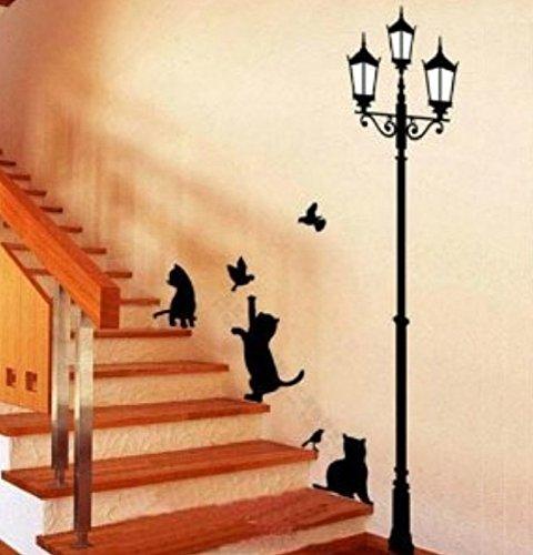 雰囲気変貌! 猫と街灯 ウォールステッカー 模様替え 動物の足跡×4 セット