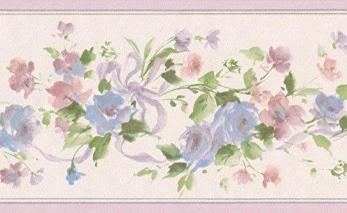 Blu fiori rosa su sfondo floreale verde vite Border design retrò, roll 15'x 8,9cm