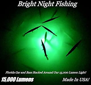Bright Night 15,000 Lumen 25ft Cord Battery Clamp 300 LED Green Underwater Submersible Salt Fresh Water Dock Boat shrimping Crappie 12v dc Also Available with Water Proof AC Converter Crappie