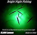 Bright Night Fishing 25ft Battery clamp Underwater Fishing Light Green 15,000 lumens 300 LED...