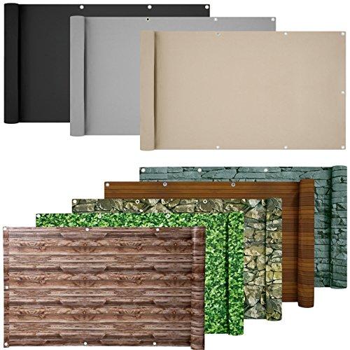 ESTEXO® PVC-Balkonsichtschutz, Balkonbespannung, Balkonverkleidung, 6 Meter (0,9 x 6,0 Meter, Creme)