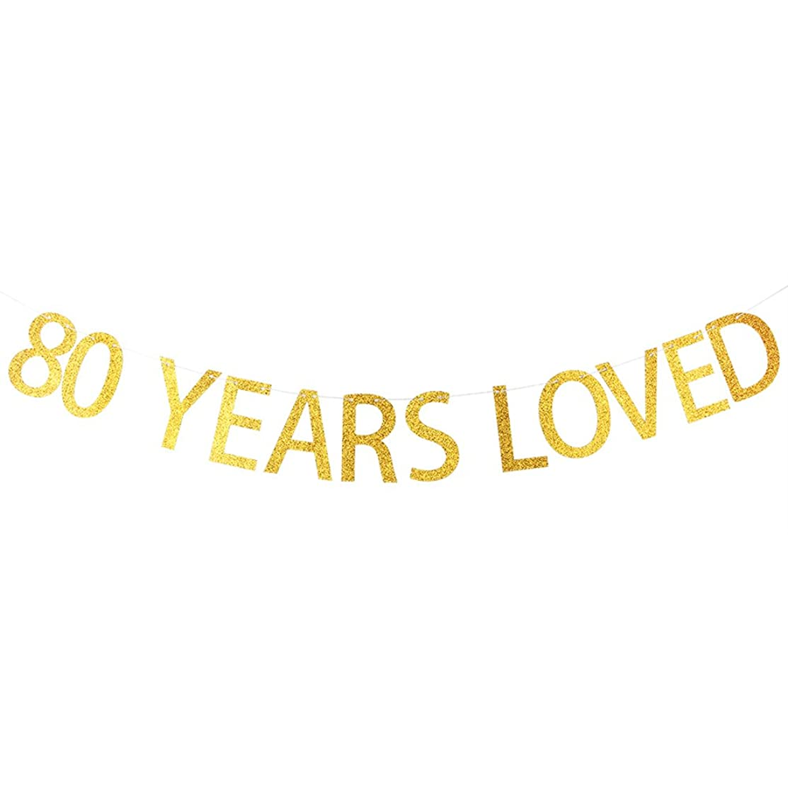 80 YEARS LOVED Gold Glitter Banner for 80th Birthday, Wedding Anniversary Party Bunting Photo Props Decorations