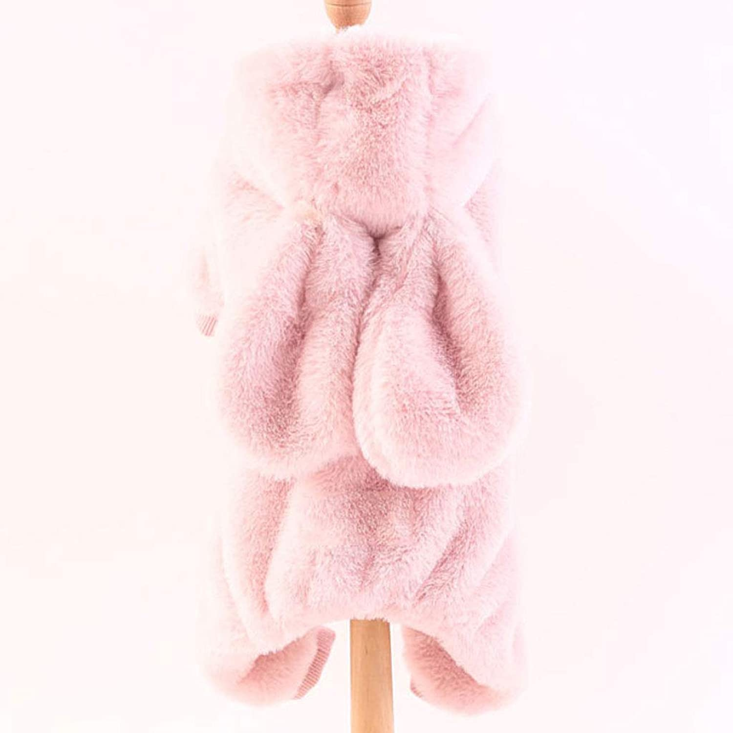 Pet Dog Clothes Autumn and Winter Wear Thick Female Teddy Bear Law Fighting Keji Small Dog Four Foot Clothes (color   Pink, Size   10)
