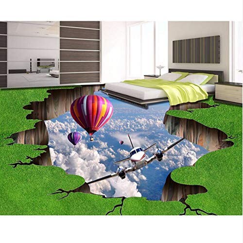 Zybnb aangepaste foto vloer 3D grasland hete lucht ballon vliegtuig 3D vloer hotel badkamer muur papier plakkerig vloer muur papier