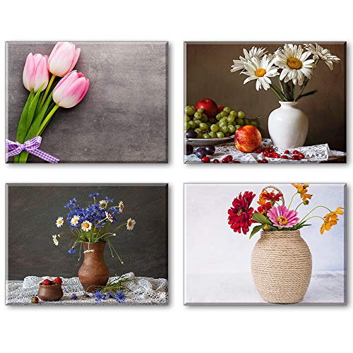 Piy Painting Cuadro para Lienzo - Tulipán Rosa Fotos Listo para Colgar Cuadros sobre el Lienzo - Pared Moderno Decorativo Pintura para Sala de Estar Cocina Regalo Aniversario (30x40cm, 4Pics)