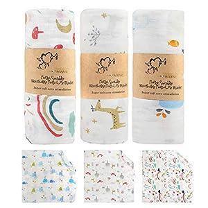 BelleStyle Mantas Swaddle Bebé, 120x120 cm Grande Mantas de Muselina de Bambú Algodón para Bebes Recién Nacidos, Envoltura de Muselina Mantas - Paquete de 3