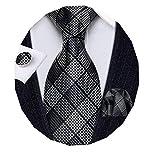 Barry.Wang Juego de gemelos cuadrados de seda para hombre, diseño de cuadros - negro - talla única
